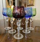 Set 6 Tall Bohemian Cut to Clear Crystal Wine Glasses Hortensia Poland MINT