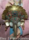 Tibet Crystal Silver Filigree Turquoise Coral Elephant Head Mask Wall Hanging