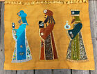 VTG Burlap Tapestry Wall Hanging 3 Kings Gifts Birth Jesus Jeweled Christmas