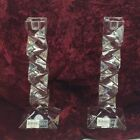 2 Mikasa lead glass candle stick holders made in Germany 9 1 2 Tall