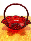 VINTAGE FENTON RUBY RED HOBNAIL LARGE GLASS BASKET WITH HANDLE