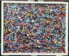 Original hand Painted abstract Jackson Pollock style on canvas framed