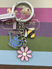 New Coach Spring Garden Mix Key Fob Silver tone Multi color charms F 64380