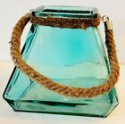 Large Heavy Sea Green Glass Hurricane Candleholder Planter with Rope Handle