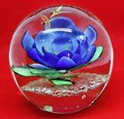 Huge Blown Glass Paperweight Blue Lotus Flower Water Lily Dragonfly Dome Sphere