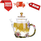 Safe Durable Floral Glass Teapot with Gold Leaves Edge Colourful Flower Pattern