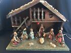 Vintage Italy Nativity Set w 11 Figures  Wooden A Frame Creche Composition