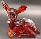 Fenton Ruby Red Glass Deer Fawn Hand Painted White Rose Artist Signed Orig Tags