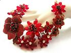 Stunning Retro Vintage Style Red Clear Rhinestone  Glass  Acrylic Necklace