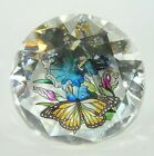 Amia Glass Studios Hand Painted Faux Crystal Diamond Lily  Butterfly Suncatcher