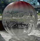 Vintage Etched Glass Globe Shade Rose Color Etched Flowers and light fixture