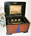 ANTIQUE EIGHT AIR CYLINDER MUSIC BOX WITH 3 BELLS  HAMMERS C1880 GWO