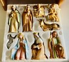 Vintage HOMCO 10 Pc Nativity Set 5599 Including Wooden Stable Complete