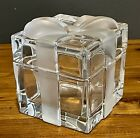 Tiffany  Co Crystal Glass Gift Box Frosted Bow Lid Present Trinket Box EUC