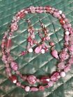 VINTAGE MURANO GLASS BEADED NECKLACE  MATCHING CHANDELIER EARRINGS STUNNING