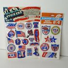 Lot of 2 VTG Puffy Stickers 3D USA Patriotic 84 Summer Games