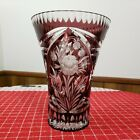 Bohemian Czech Style Cut To Clear Purple Crystal Vase Frosted Floral Design