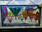 Tiffany Style Stained Glass Hanging Window Panel Floating Hot Air Balloons 20 W