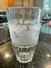 Tall Vintage Crystal Large Vase with Frosted Sunflowers 11 3 4 Tall and Heavy