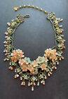 Gorgeous VIntage Colleen Toland Statement Necklace in Peach and Green signed