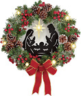 Lighted Artificial Christmas Wreath with Nativity Scene
