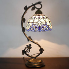 Reading Lamp Stained Glass Table Light Blue Purple Desk Baroque Tiffany Style