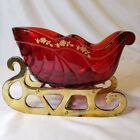 Beautiful FENTON Ruby Red Glass Holiday Sleigh Brass Runners 18kt Gold Trim