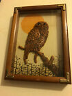VIntage wood  glass owl wall plaque 70s raised wooden owl on branch 55 x 75