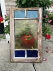 vintage stained glass window 26 1 2 x 16