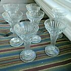 Seven Champagne Flutes Trumpet Style Glasses Ribbed Panels