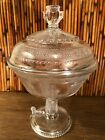 Adams Egyptian 1880s EAPG Pattern Glass Covered Compote Sphinx On Base