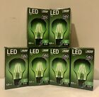 6 Feit Clear Glass Holiday Christmas Green LED Dimmable Light Bulbs 45 Watts