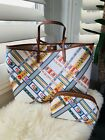 NWT Tory Burch Kerrington Ribbon Weave Bias All Over Square Tote + Pouch Bundle