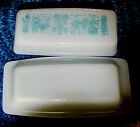 Vintage Pyrex Butterprint Covered Butter Dish Turquoise Blue Amish Rooster Lid