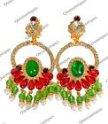 Chris Crouchs Moans Couture Emerald Ruby Cabochon Earrings 40 Marked