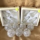 Vintage Christmas by Krebs Glass Bell Ball Ornaments Clear White Silver