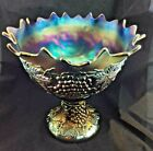 Northwood Grape and Cable Midsize Blue Punch bowl set Carnival Glass beautiful