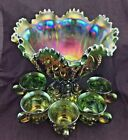 Northwood GREEN MEMPHIS ANTIQUE CARNIVAL GLASS COMPLETE 7 piece PUNCH BOWL SET