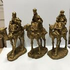 EUC 3 WISE MEN KINGS on CAMELS w GIFTS 14 TALL GOLD CHRISTMAS NATIVITY STATUES