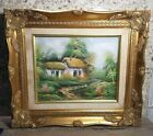 Vintage Oil on Canvas Signed Framed Meadow Path Wooded Cottage Gilded Gold Wood