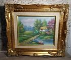 Vintage Oil Canvas Signed Thomas Framed Meadow Wooded Cottage Gilded Gold Wood