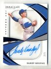 SANDY KOUFAX 2021 PANINI IMMACULATE COLLECTION ON-CARD AUTO AUTOGRAPH #3 5