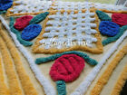 Jolly Lollipop 50s Red  Blue Roses Yellow Vtg Chenille Bedspread Fabric Piece
