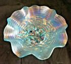 Rare Northwood Ice Blue Carnival Glass Rose Show 8 3 4 Bowl Great Iridescence