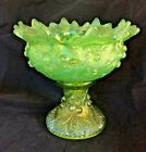 Northwood Carnival Glass Acorn Burrs Punch Bowl and base Ice Green