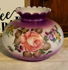 Vintage Glass Handpainted Gone With The Wind Lampshade Roses Purple Pink
