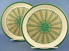 Dansk Japan Baskets Wicker Green Tan 2 Salad Plates WOW