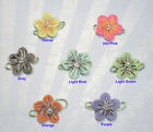 12 Felt 2 layers Flowers with bead Appliques 7 colors