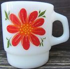 Vintage ANCHOR HOCKING FIRE-KING DOUBLE FLOWER COFFEE MUG 1960s Made in USA