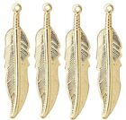 10 50 OR 100 Shiny Gold Plated Brass 32x7mm Single Sided Feather Focal Charms